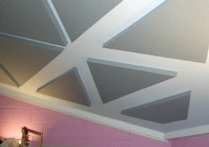 Triangular shaped dB Acoustic Panels bonded to a ceiling